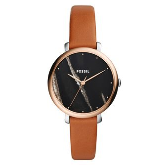 Fossil Ladies' Black Marble Dial Brown Leather Strap Watch - Product number 9103317