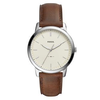 Fossil Men's Cream Dial Brown Leather Strap Watch - Product number 9103368