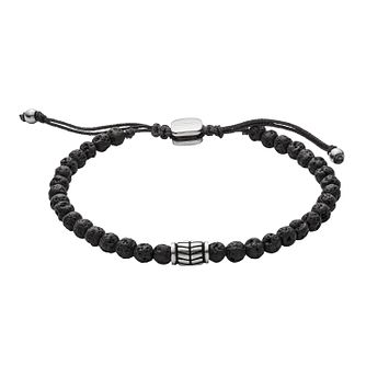 Fossil Men's Semi-Precious Black Wellness Bead Bracelet - Product number 9103562