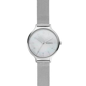 Skagen Ladies' Mother of Pearl Dial Silver Mesh Strap Watch - Product number 9103597