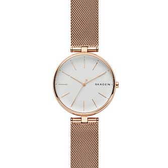 Skagen Signatur Ladies' T-Bar Silver Mesh Strap Watch - Product number 9103600