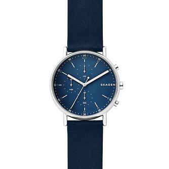 Skagen Signatur Men's Blue Dial Blue Leather Strap Watch - Product number 9103694