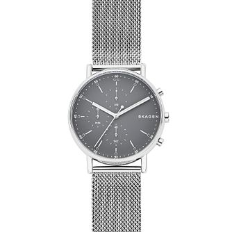 Skagen Signatur Men's Grey Dial Silver Mesh Strap Watch - Product number 9103716
