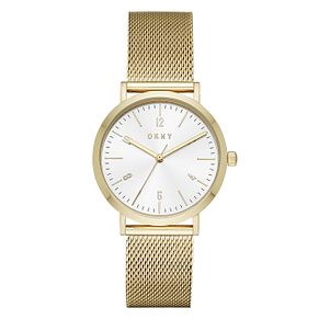 DKNY Ladies' Gold Tone Stainless Steel Mesh Strap Watch - Product number 9104038