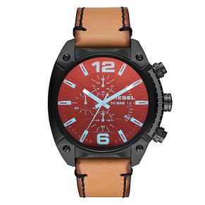 Diesel Overflow Men's Brown Leather Strap Watch - Product number 9104275