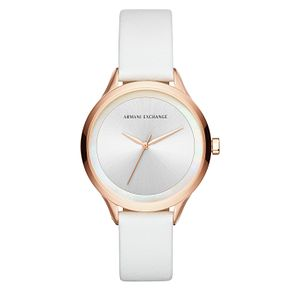 Armani Exchange Ladies' Rose Gold White Leather Strap Watch - Product number 9105611
