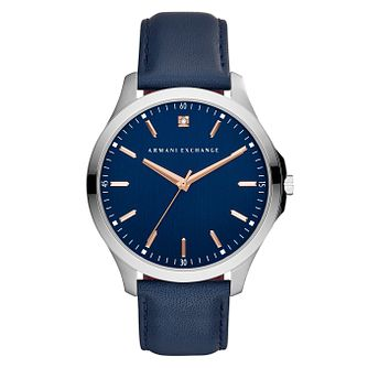 Armani Exchange Men's Blue Leather Strap Watch - Product number 9105778