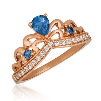 14ct Strawberry Gold Pear Blueberry Sapphire Tiara Ring - Product number 9105956
