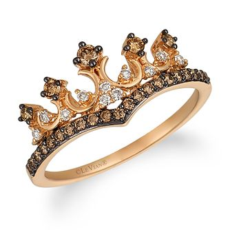 14ct Strawberry Gold Chocolate Diamond Tiara Ring - Product number 9106359