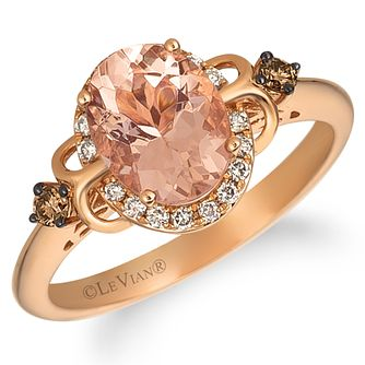 Le Vian 14ct Strawberry Gold Oval Peach Morganite Ring - Product number 9106480