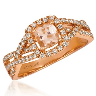 Le Vian 14ct Strawberry Gold Cushion Peach Morganite Ring - Product number 9107517