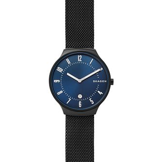 Skagen Grenen Men's Blue Dial Black Mesh Watch - Product number 9111166