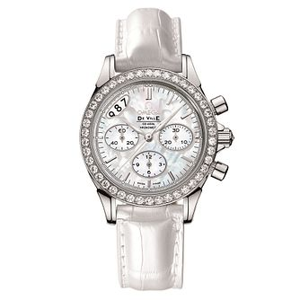 Omega DeVille Diamond White Leather Strap Watch - Product number 9118993