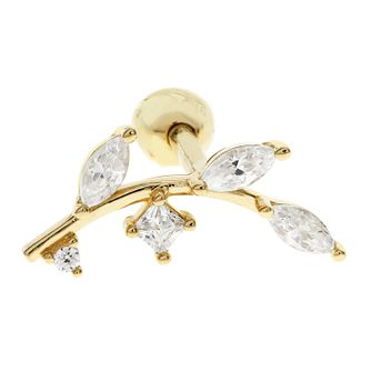 Bodifine 9ct Gold Cubic Zirconia Leaf Ear Tragus Single Stud - Product number 9192107