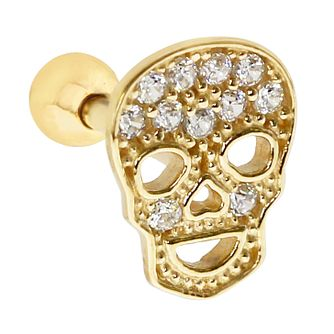 Bodifine 9ct Gold Cubic Zirconia Skull Tragus Single Stud - Product number 9192247