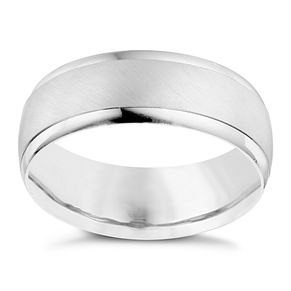 Men's 9ct White Gold Satin Polished 7mm Band - Product number 9194894