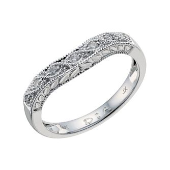 9ct white gold diamond set shaped wedding band - Product number 9203168