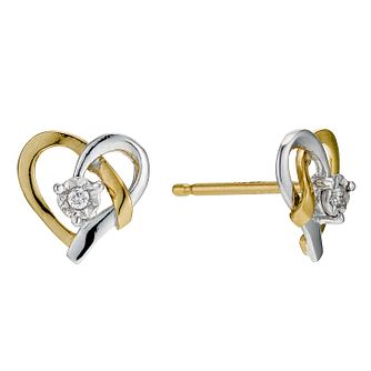 9ct Yellow Gold & Diamond Heart Stud Earrings - Product number 9207015