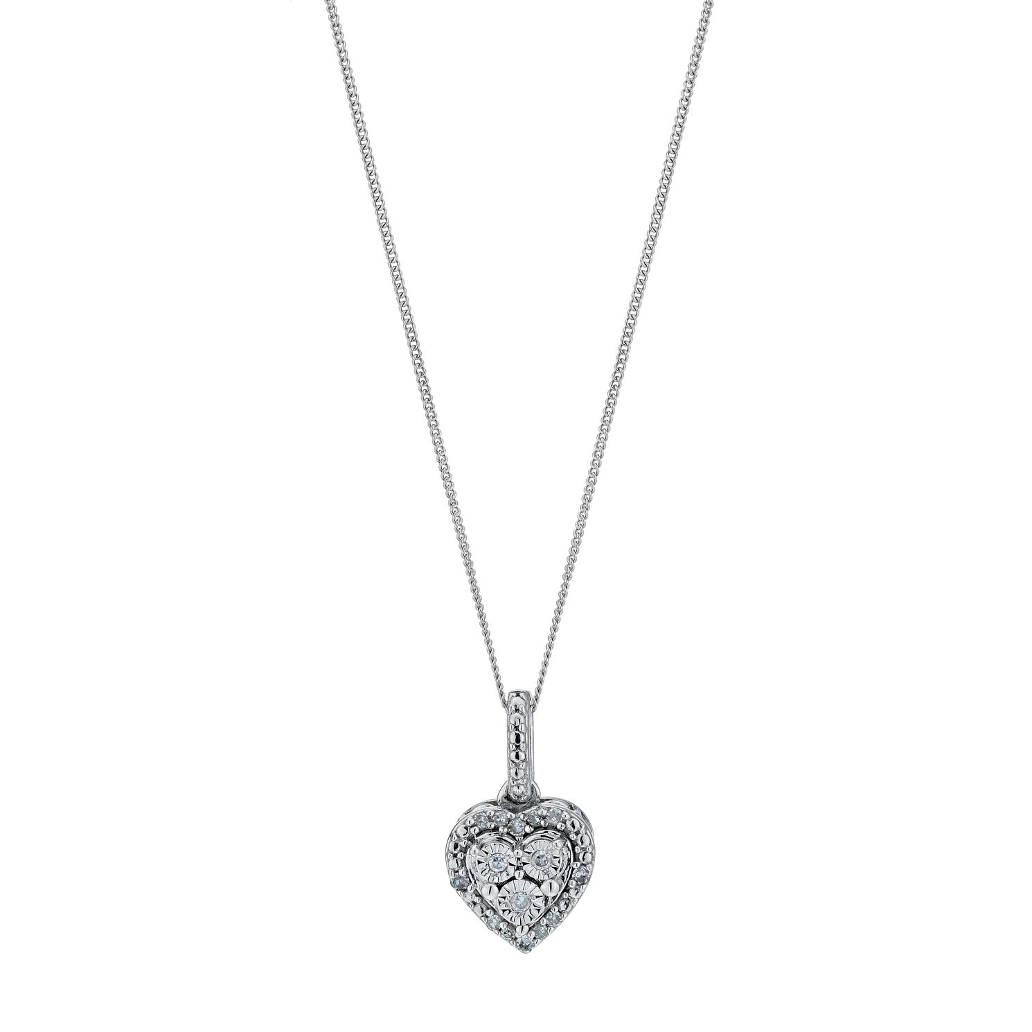 Diamond necklaces hmuel sterling silver diamond cluster heart pendant product number 9207252 mozeypictures Images