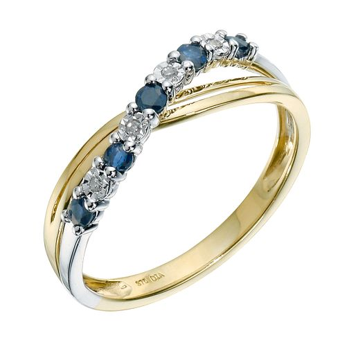9ct Yellow Gold Sapphire & Diamond Ring - Product number 9211004