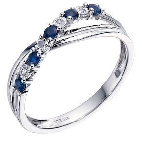 9ct White Gold Sapphire & Diamond Crossover Ring - Product number 9211144