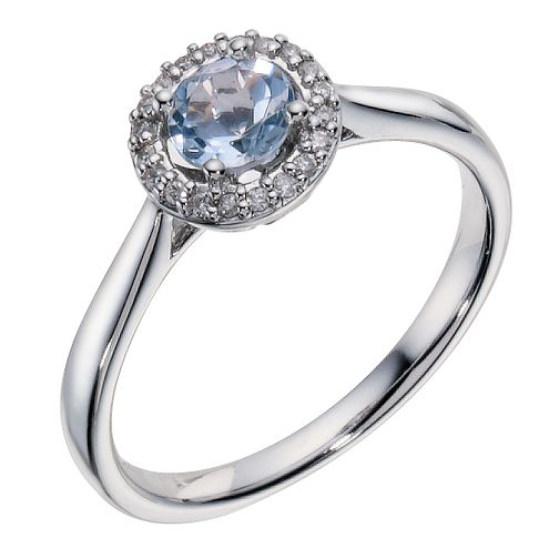 9ct White Gold Aquamarine & Diamond Ring - Product number 9213813