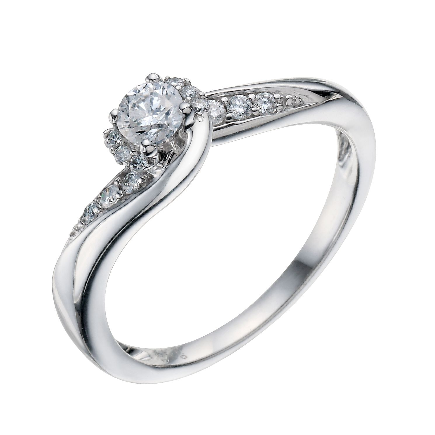 diamond gold rings in round engagement prong white cut solitaire shank with rounded ring