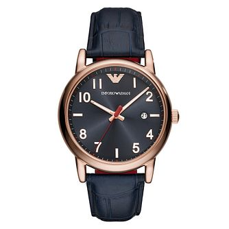 Emporio Armani Men's Rose Gold Tone Dark Blue Strap Watch - Product number 9227148