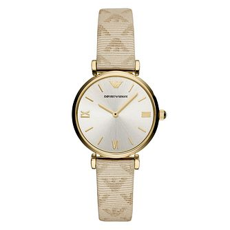 Emporio Armani Ladies' Yellow Gold Tone Beige Strap Watch - Product number 9227318