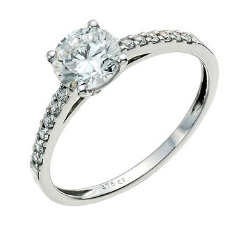 9ct White Gold Cubic Zirconia Solitaire Ring - Product number 9239073