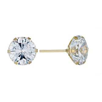 9ct Yellow Gold 8mm Cubic Zirconia Stud Earrings - Product number 9242554