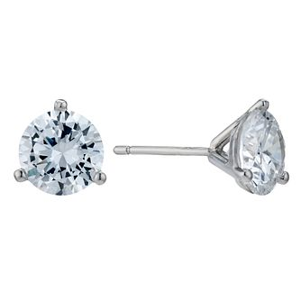 9ct White Gold 3 Claw 7mm Cubic Zirconia Stud Earrings - Product number 9242724