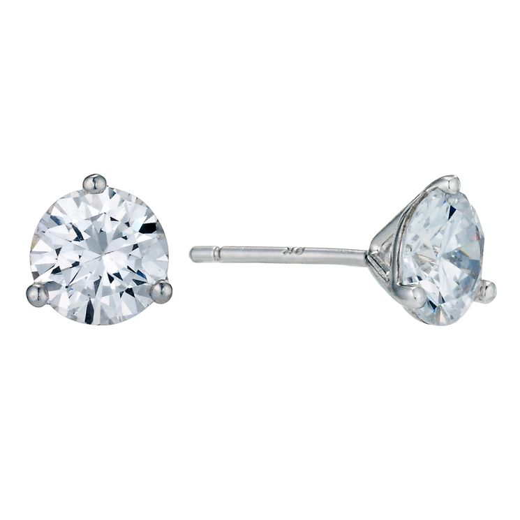 9ct White Gold 3 Claw 6mm Cubic Zirconia Stud Earrings - Product number 9242732