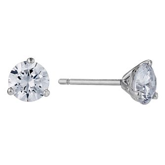 9ct White Gold 3 Claw 5mm Cubic Zirconia Stud Earrings - Product number 9242740
