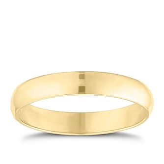 9ct yellow gold 3mm D shaped plain court ring - Product number 9251596