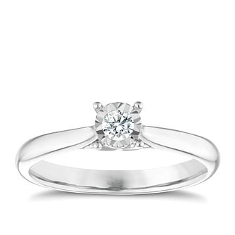 9ct white gold 1/10ct diamond illusion set solitaire ring - Product number 9259333