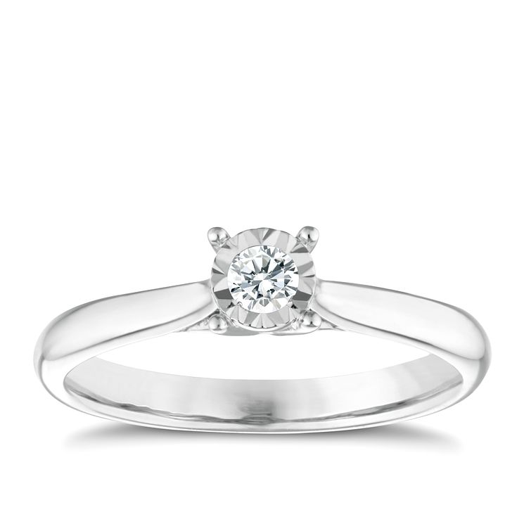 9ct white gold diamond illusion set solitaire ring - Product number 9259333