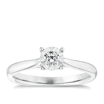 9ct white gold diamond illusion solitaire ring - Product number 9259465