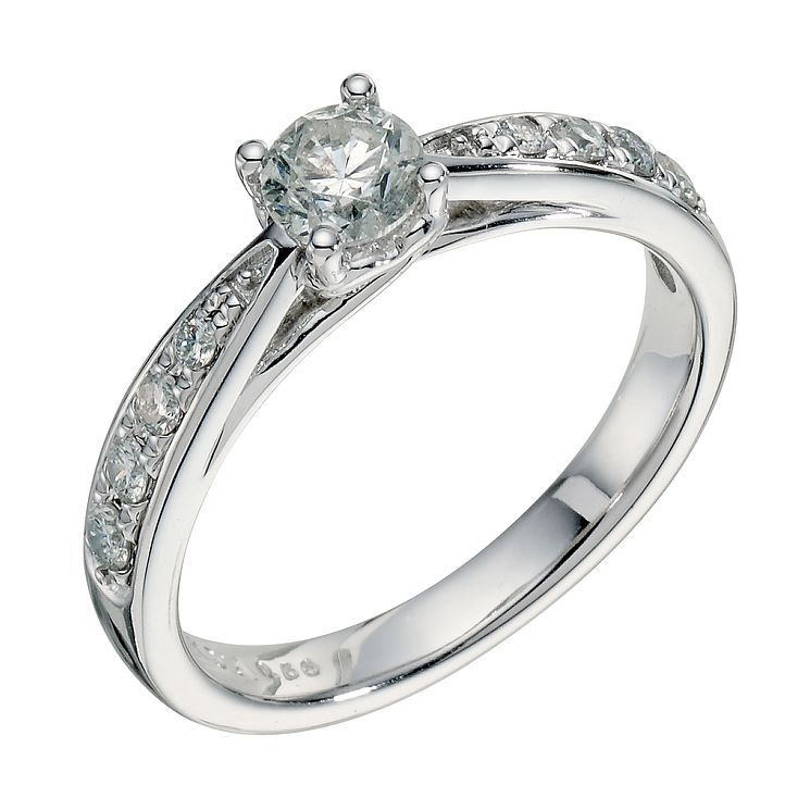 9ct white gold 66pt diamond solitaire ring - Product number 9260129