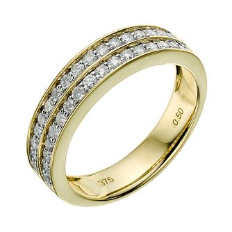 9ct yellow gold two row 0.50ct diamond ring - Product number 9261583