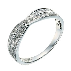 18ct white gold crossover 0.25ct diamond wedding ring - Product number 9262903