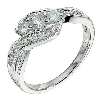 9ct white gold 0.50ct diamond crossover 3 stone ring - Product number 9265333