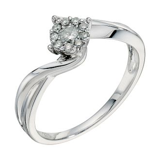 9ct white gold 1/4ct diamond twist cluster ring - Product number 9265953