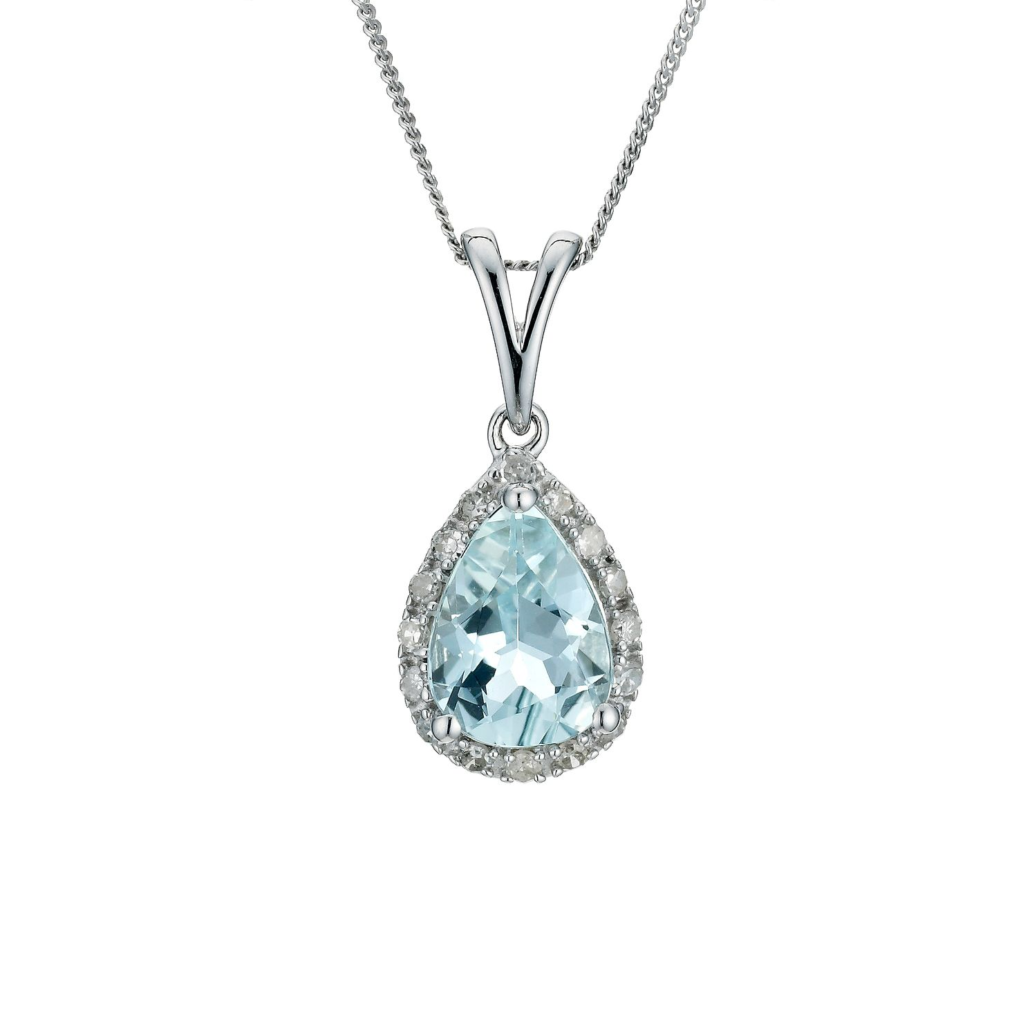 aquamarine silver in sterling necklace pendant maine