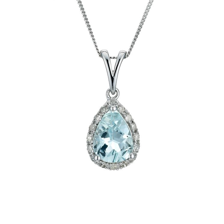 9ct white gold aquamarine pendant - Product number 9271430