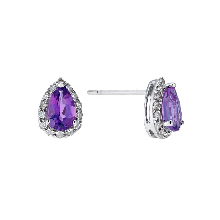 9ct white gold pear shape amethyst & diamond earrings - Product number 9271449
