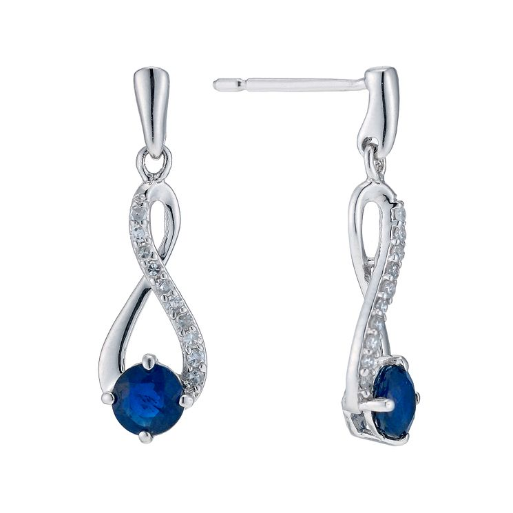 9ct white gold sapphire & diamond earrings - Product number 9271929