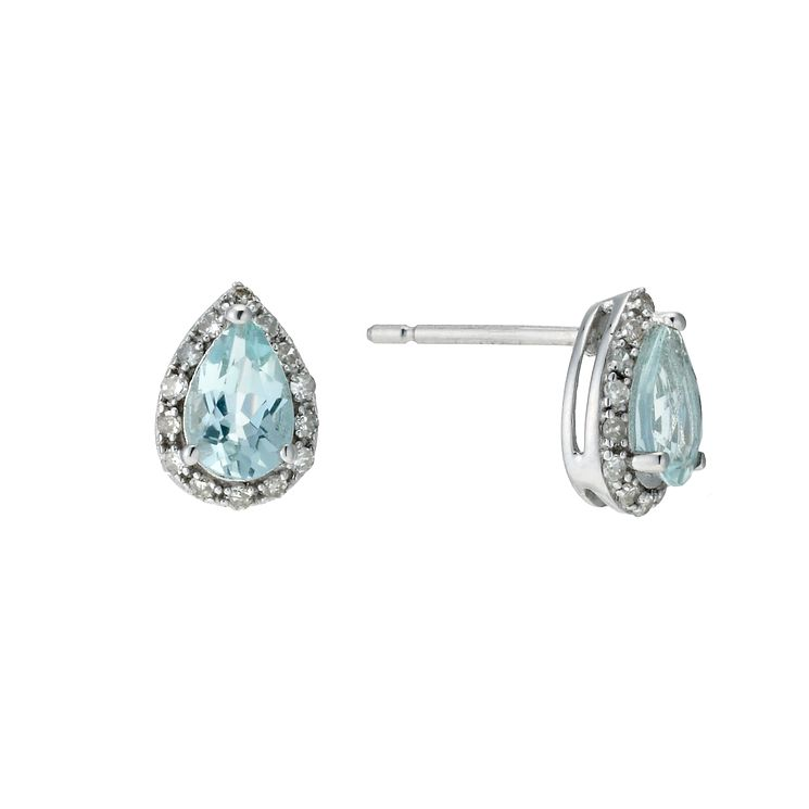 9ct white gold aquamarine & diamond earrings - Product number 9272151