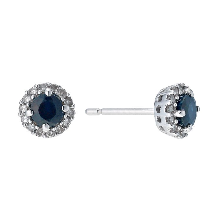 9ct white gold sapphire & diamond stud earrings - Product number 9272208