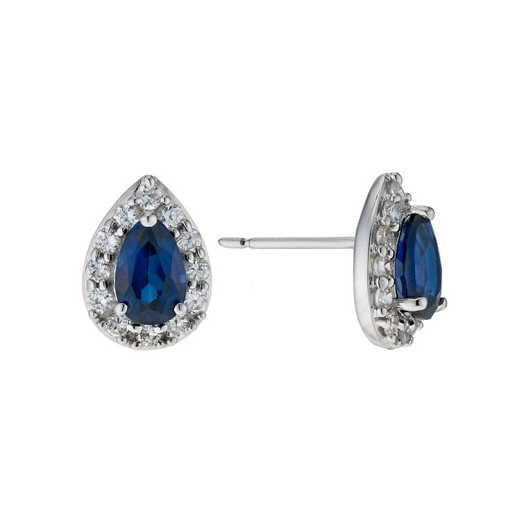 9ct white gold created sapphire & cubic zirconia earrings - Product number 9274626